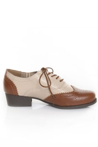 Bamboo Tuxedo 02 Tan & Beige Spectator Lace-Up Oxfords