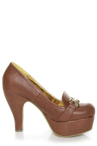 B.A.I.T. Patricia Luggage Brown Penny Loafer Platform Heels