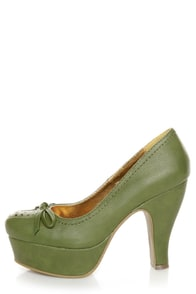 B.A.I.T. Pretty Celery Green Perforated Platform Heels