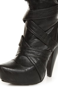 Brooke Black Belted High Heel OTK Boots