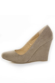 Chelsea Crew Colette Taupe Micro Suede Wedges