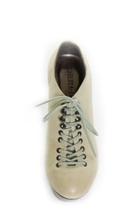 Chelsea Crew Maggie Grey Leather Lace-Up Hiking Platform Heels
