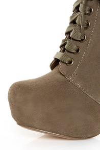 Chelsea Crew Truffle Taupe Suede Lace-Up Platform Ankle Boots