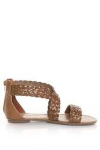 CityClassified Archer Tan Braided Flat Sandals
