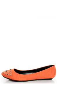 City Classified Gloria Burnt Orange Studded Cap-Toe Flats