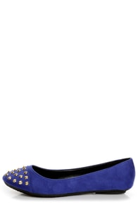 City Classified Gloria Electric Blue Studded Cap-Toe Flats