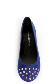 City Classified Gloria Electric Blue Studded Cap-Toe Flats at Lulus.com!