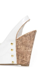 CityClassified Layton White Patent Peep Toe Slingback Wedges