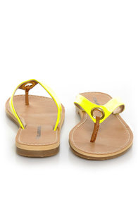City Classified Micky Yellow Neon Patent Flip-Flop Thong Sandals at Lulus.com!