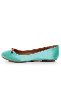 City Classified Oxton Teal Satin Ballet Flats