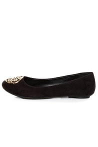 City Classified Quant Black Medallion Ballet Flats