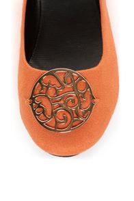City Classified Quant Coral Orange Medallion Ballet Flats at Lulus.com!