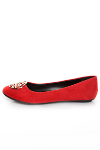 City Classified Quant Red Medallion Ballet Flats