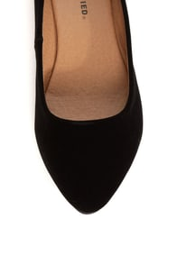 City Classified Sadler Black Suede Pointed Flats at Lulus.com!