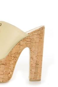 C Label Christian 3 Beige Lace-Up Peep Toe Slide Platforms at Lulus.com!