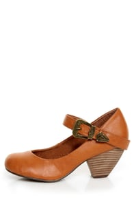 C Label Chuck 2 Chestnut Brown Mary Jane Goes West Heels at Lulus.com!
