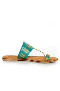 CL by Laundry Crystal Ball Turquoise & Gold Braided Flat Sandals at Lulus.com!