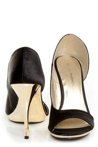 C Label Gaea 7 Black Satin and Gold Peep Toe D'Orsay Heels at Lulus.com!