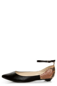 C Label Hudson 11 Black and Tawny Snake Two Tone Pointed Flats