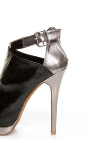C Label Jocelyn 54 Black and Silver Peep Toe Platform Booties