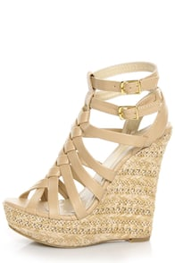 C Label Nancy 5 Beige Strappy Espadrille Wedge Sandals