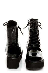 C Label Nata 1 Black Patent Platform Combat Boots at Lulus.com!