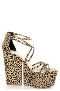 C Label Sara 1 Gold Leopard Print Strappy Super Platform Heels at Lulus.com!