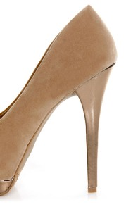 Dollhouse Devoted Nude and Metallic Peep Toe Pumps at Lulus.com!