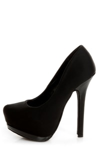 Dollhouse Dulce Black Lycra and Patent Platform Pumps
