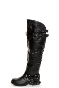 Dollhouse Hit Black Biker Babe Belted OTK Motorcycle Boots