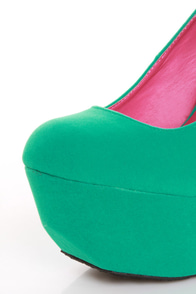 Dollhouse Kammy Sea Green Super Platform Heels