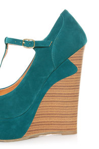 Dollhouse Trip Teal T-Strap Platform Wedges at Lulus.com!