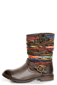 Dollhouse Yarn Brown Multi Yarn-Striped Ankle Boots