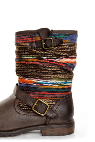 Dollhouse Yarn Brown Multi Yarn-Striped Ankle Boots at Lulus.com!