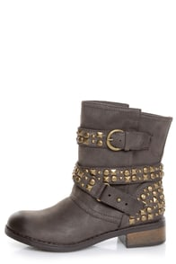 Dirty Laundry Showstopper Brown Studded Motorcycle Boots