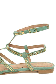 Envy Citroen Teal Mint Suede Studded Gladiator Sandals at Lulus.com!
