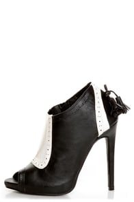 Fiebiger Downtown Black and White Spectator Shootie Heels at Lulus.com!
