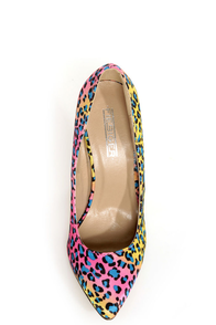 Fiebiger Tokyo Blue Dot Leopard Print Multicolored Pointed Heels at Lulus.com!