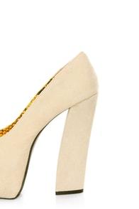 Fahrenheit Anne 08 Beige Velvet Chunky Platform Heels at Lulus.com!