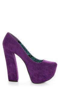 Fahrenheit Anne 08 Purple Velvet Chunky Platform Heels at Lulus.com!