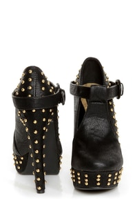 Fahrenheit Bar 05 Black Studded T-Strap Platform Heels at Lulus.com!