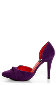 Fahrenheit CR-03 Purple Velvet Pointed D-Orsay Pumps