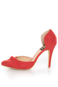 Fahrenheit CR-03 Red Velvet Pointed D-Orsay Pumps