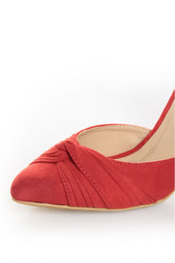 Fahrenheit CR-03 Red Velvet Pointed D-Orsay Pumps at Lulus.com!