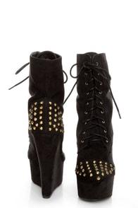 Fahrenheit Kristen 03 Black Studded Lace-Up Platform Booties at Lulus.com!