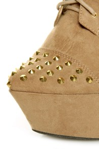 Fahrenheit Kristen 03 Taupe Studded Lace-Up Platform Booties