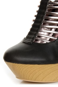 Fahrenheit Lolita 05 Black & Bronze Strappy Cutout Wedge Booties at Lulus.com!