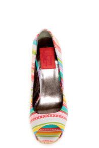 Fahrenheit Minka 06 Fuchsia Canvas Multi Print Peep Toe Heels at Lulus.com!
