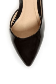 Fahrenheit Zara 01 Black Patent Pointed D'Orsay Pumps at Lulus.com!