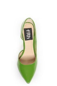 Fahrenheit Zara 01 Green Patent Pointed D'Orsay Pumps at Lulus.com!